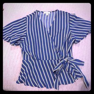 Monteau Striped side wrap top